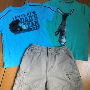 Two 3T t-shirts with 24mo OshKosh khaki shorts